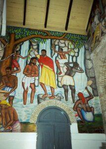 Nástěnná malba Ježíšova křtu, Cathédrale de Sainte Trinité, Port-au-Prince, Haiti