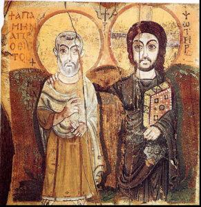Ikona Krista a Sv. Mena, 6. st., Bawit, Egypt