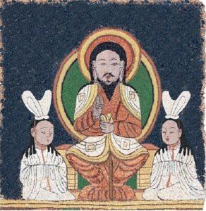 Japonská rekonstrukce Ježíše na trůnu z manichejské chrámové vlajky (střední Asie asi 10. stol.)