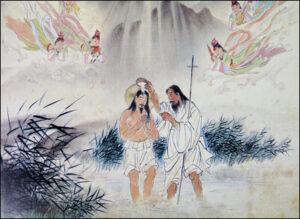 Ježíš v podání korejského malíře Woonbo Kim Ki-changa
